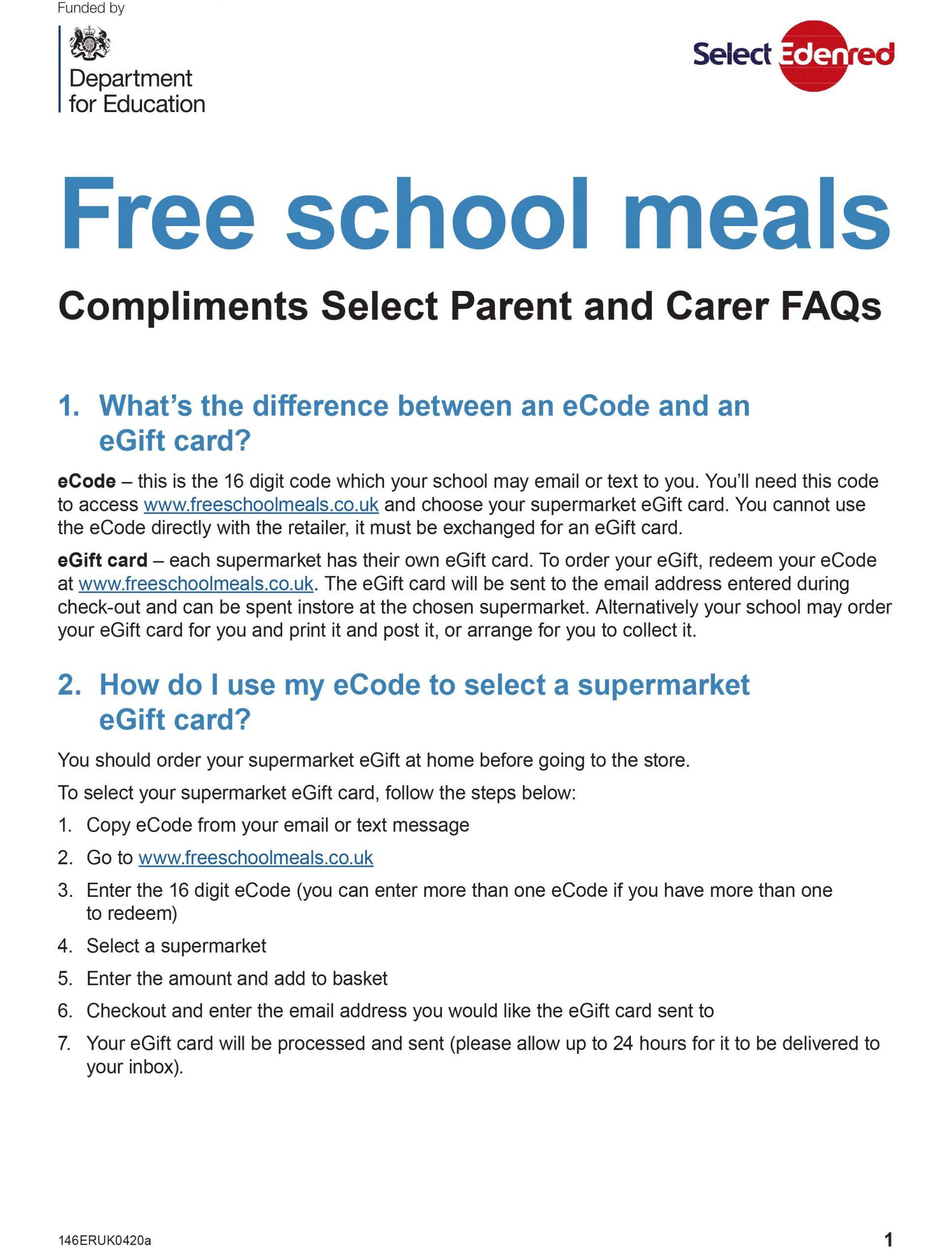 Free School Meals   Woodcroft Primary School