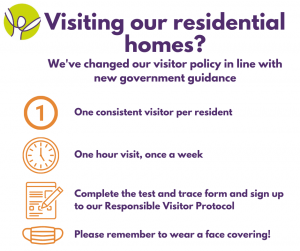 Image summarising change in policy for visiting care homes