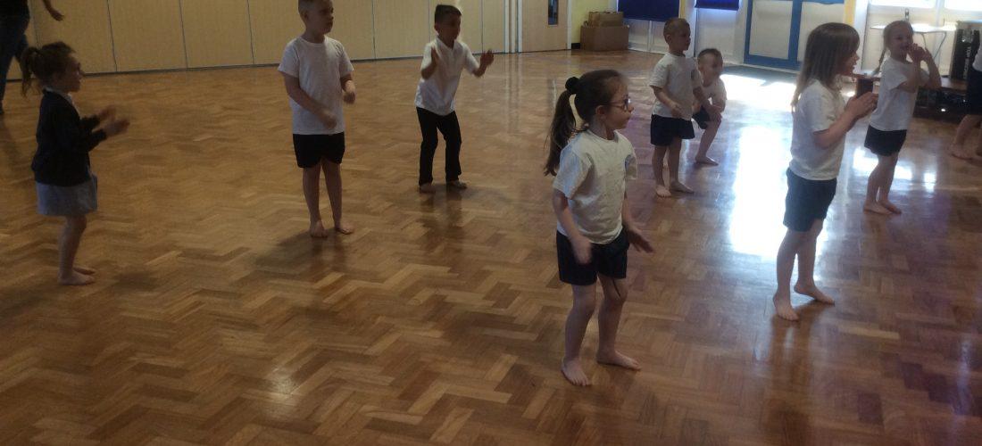 Children dancing in PE