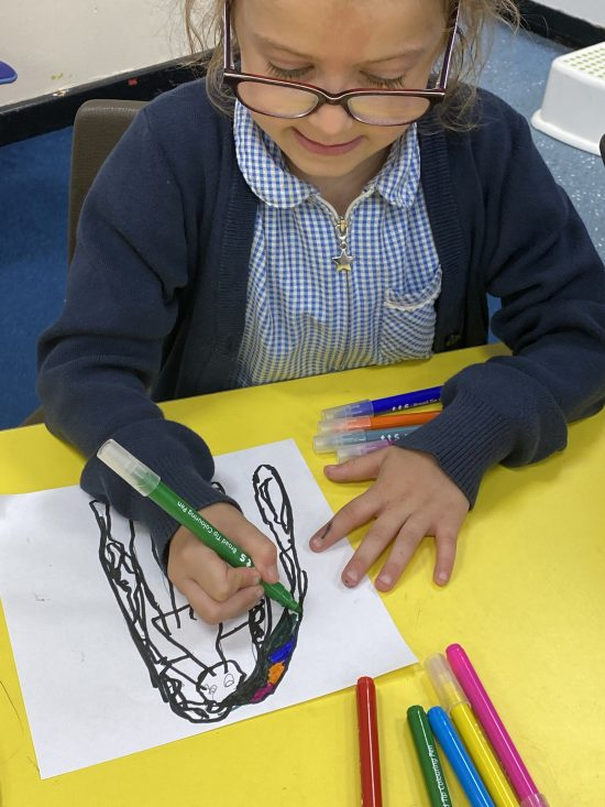 Year 1/2 working on their diversity week project