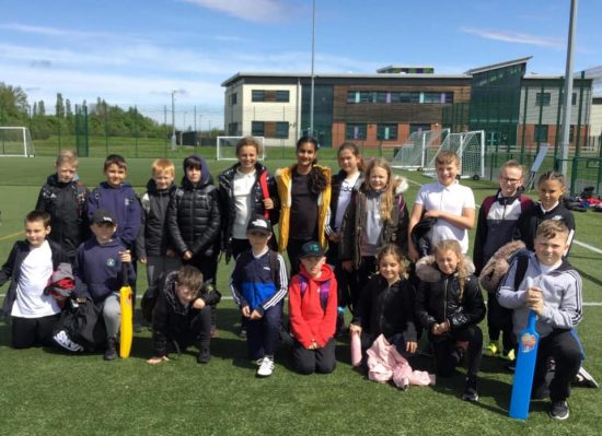 Children participating in the cricket competition at Castle View