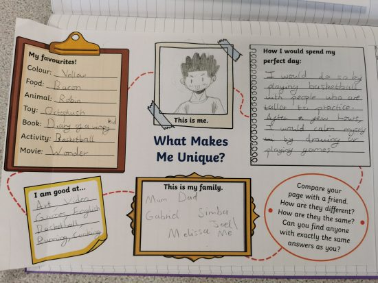 An example of Year 6s work on diversity