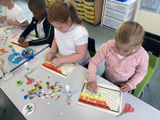Year 3 working on their pride flags