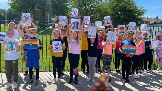 Year 5 and their Pride t-shirt designs