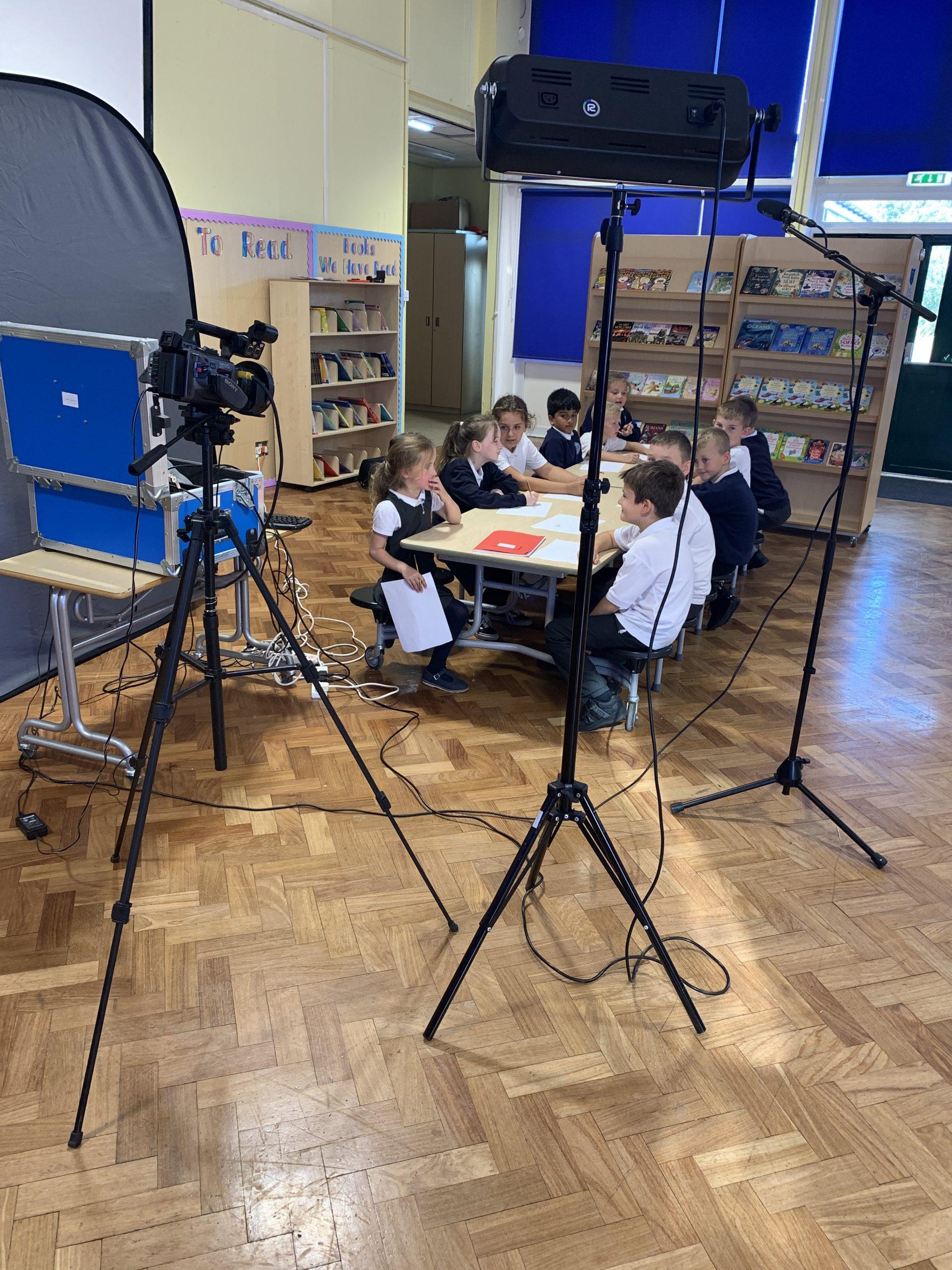Computing subject ambassadors getting ready to film