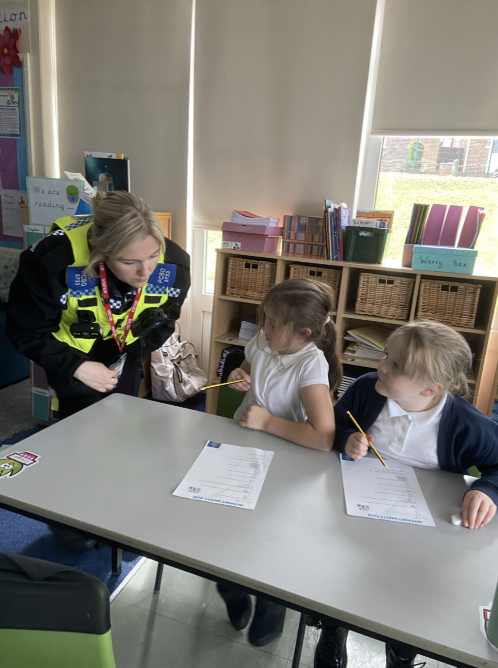 Year 4 enjoying a visit from the police