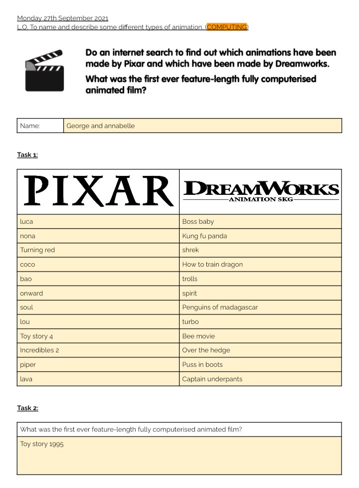 An example of Year 3's work on Pixar and Dreamworks