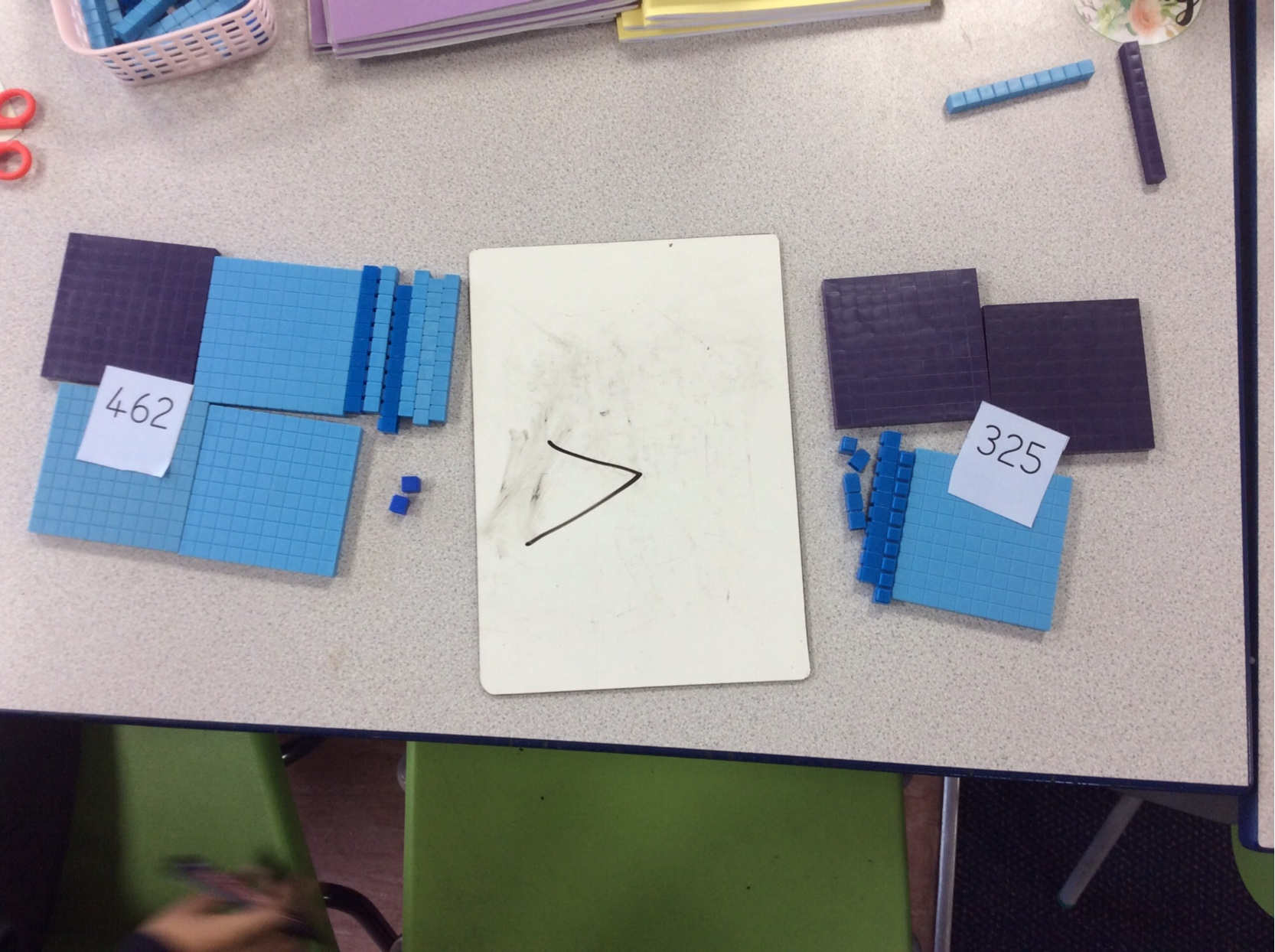 An example of the children's practical maths work