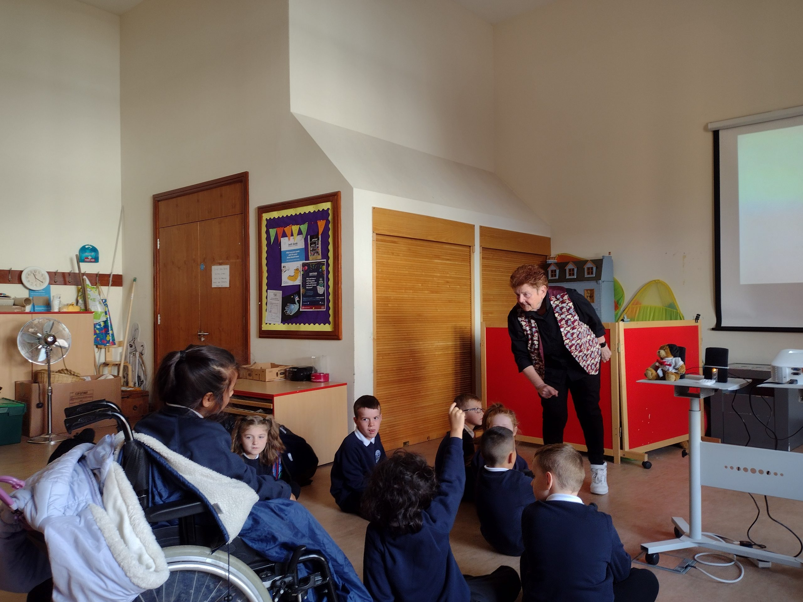 Children meeting Sheila Graber