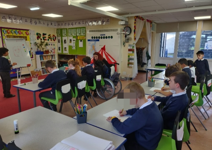 Year 3 taking on the role of the teacher to teach their peers